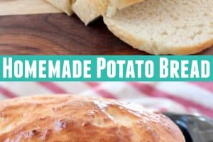 Homemade potato bread on cutting board and in loaf pan