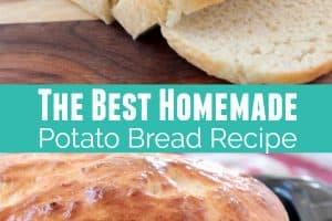 Homemade sliced potato bread and loaf of potato bread