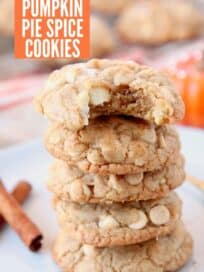 Stacked up pumpkin spice cookies on plate