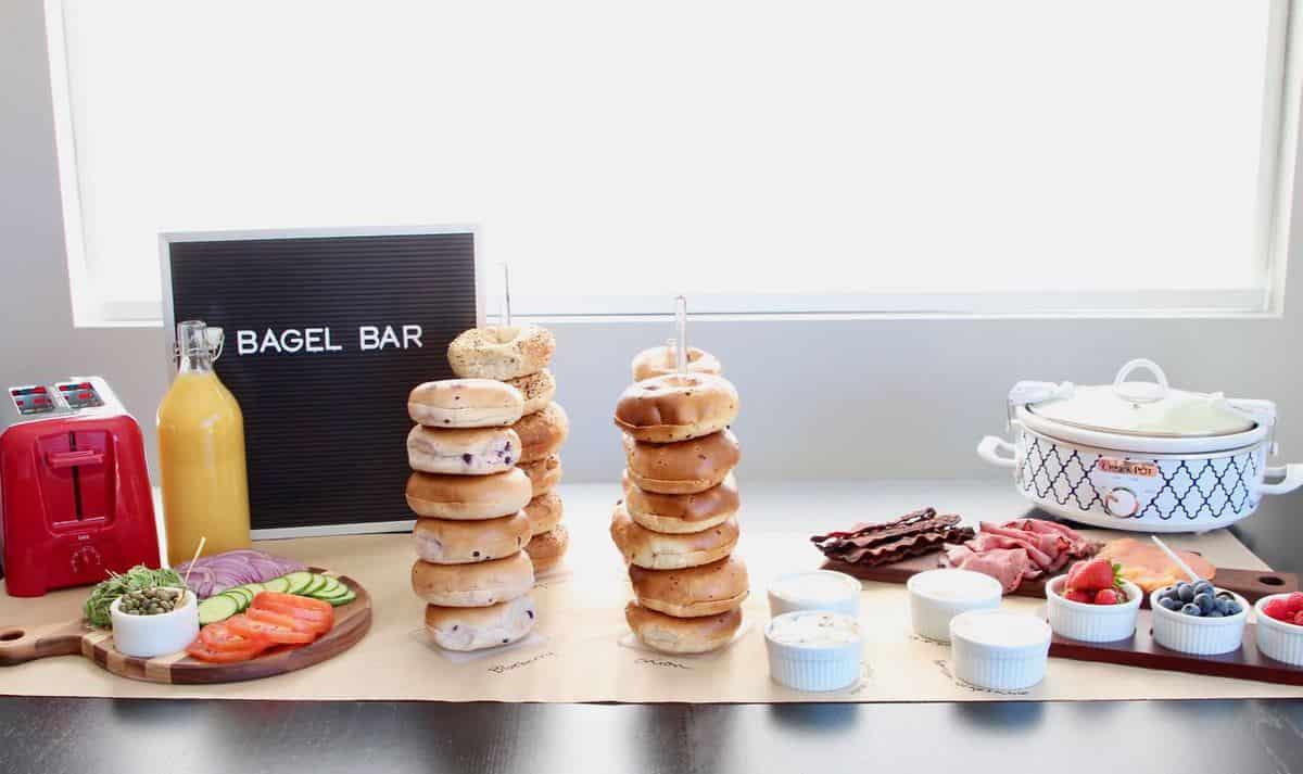 Bagel bar setup on table