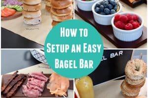 Collage of images showing bagel bar setup