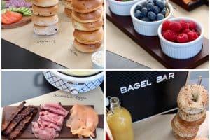 Collage of images of a bagel bar setup