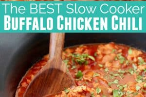 Buffalo chicken chili in black slow cooker with wooden spoon