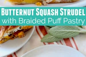 Sliced strudel filled with butternut squash, sausage, herbs and ricotta cheese