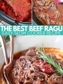 collage of images showing how to make slow cooker beef ragu