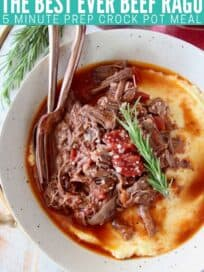 overhead image of shredded beef ragu in bowl with polenta