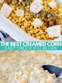 creamed corn in crock pot with spoon