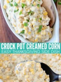 creamed corn in white serving dish and in crock pot with spoon