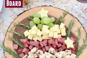 Christmas tree cheese board on wood serving board
