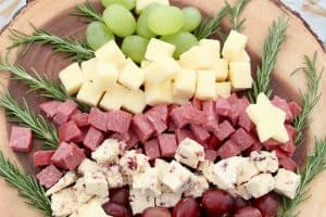 Christmas tree shaped cheese and charcuterie board