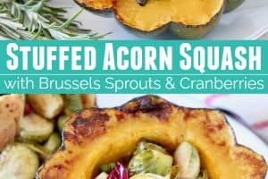 Stuffed acorn squash halves on plate with roasted brussels sprouts, cranberries and fresh rosemary sprigs