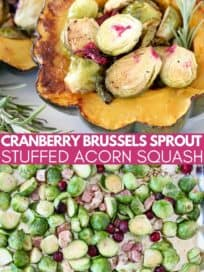 roasted brussels sprouts in half of a roasted acorn squash