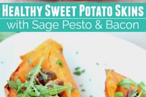 Sweet potato skins filled with bacon, pesto and arugula
