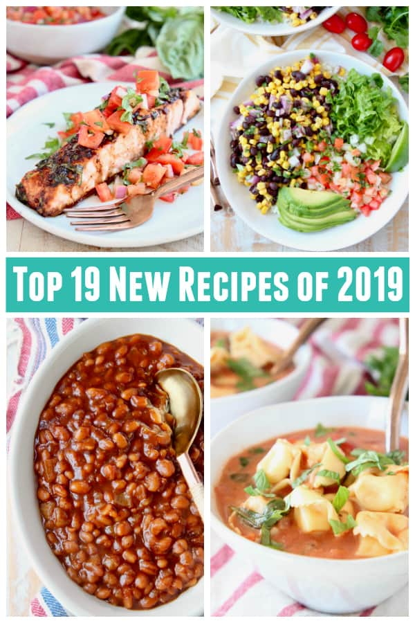Collage of images featuring tortellini soup, baked beans, bruschetta salmon and burrito bowls
