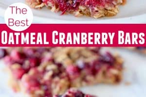 Oatmeal cranberry bars on plate with fork