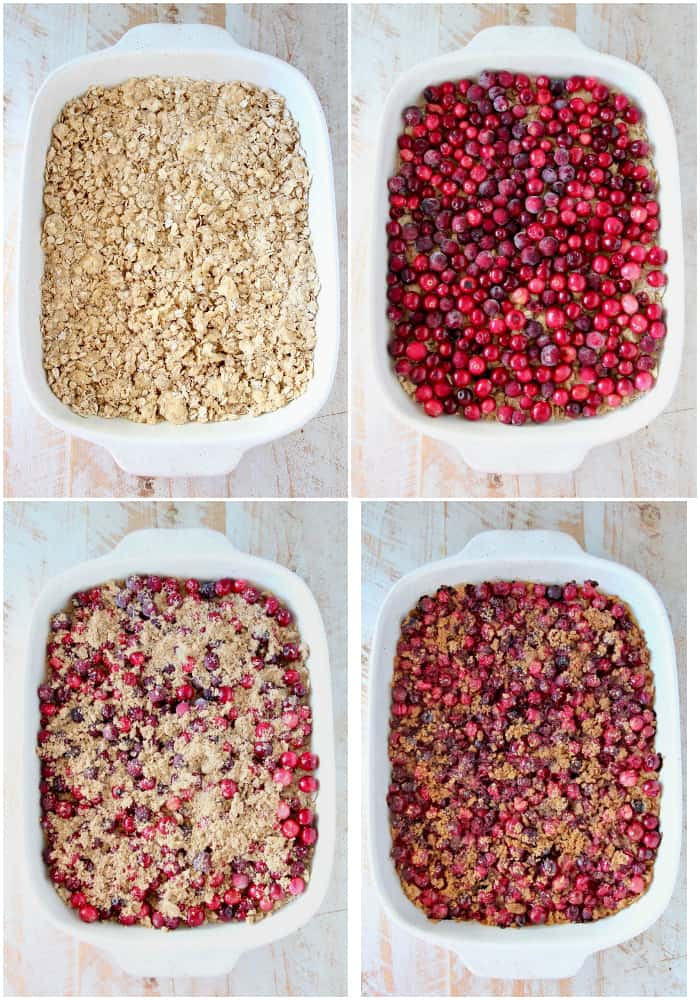 Collage of images showing how to make Oatmeal Cranberry Bars