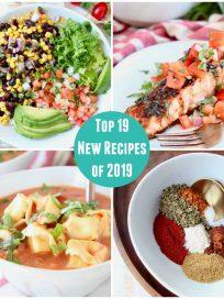 Collage or images featuring bruschetta salmon, burrito bowls, tortellini soup and fajita seasoning