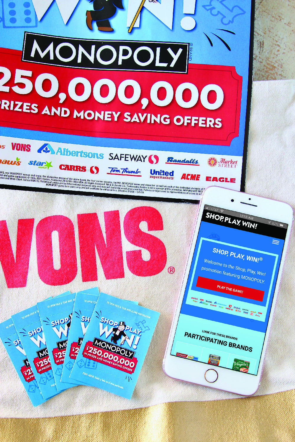 Vons Shop Play Win Monopoly Game