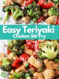 Teriyaki chicken and broccoli over rice on plate