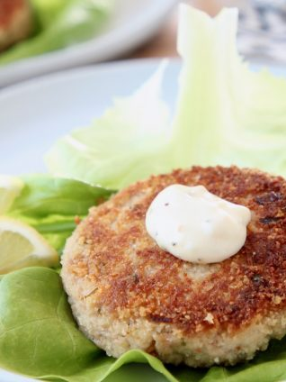 Crispy tuna patties, topped with garlic aioli on a piece of butter lettuce