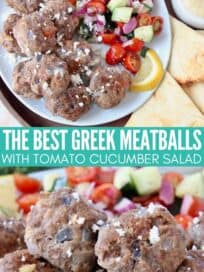 greek meatballs stacked up on plate next to tomato cucumber salad