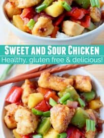 sweet and sour chicken in bowl with chopsticks