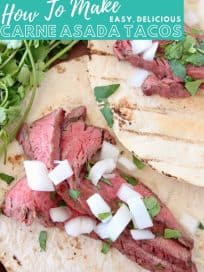 Carne asada tacos with text overlay