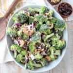 Overhead image of broccoli salad in bowl