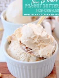 Scoops of peanut butter ice cream in bowls with gold spoons