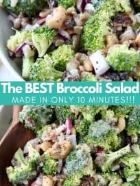 Overhead image of broccoli salad in bowl with text overlay