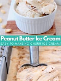 Peanut butter ice cream being scooped out of metal container and scoops of ice cream in bowls