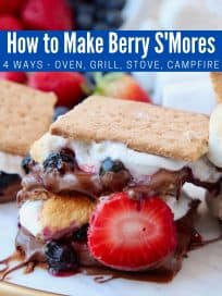 Smores with strawberries and blueberries