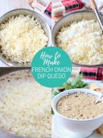 collage of images showing how to make french onion dip queso