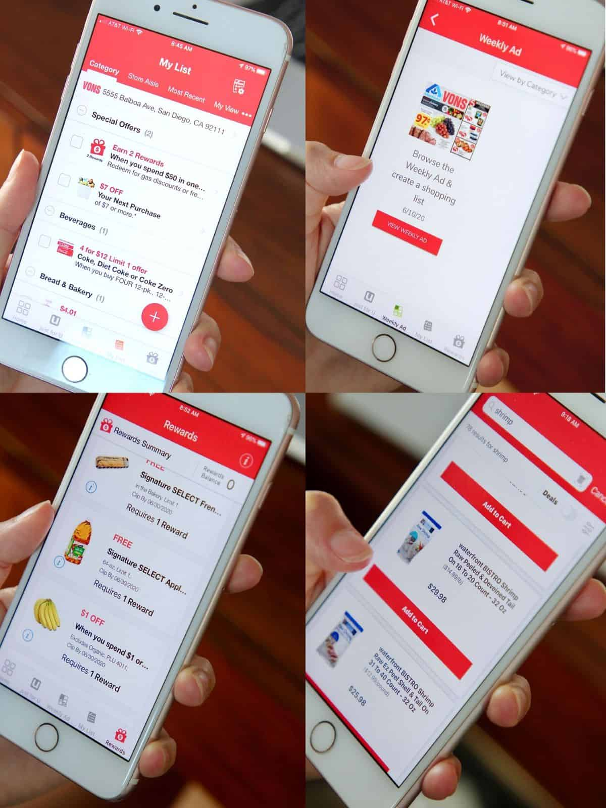 collage of images showing iphone displays of the Vons just for U app