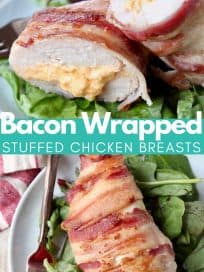 Bacon wrapped stuffed chicken breast cut in half on plate