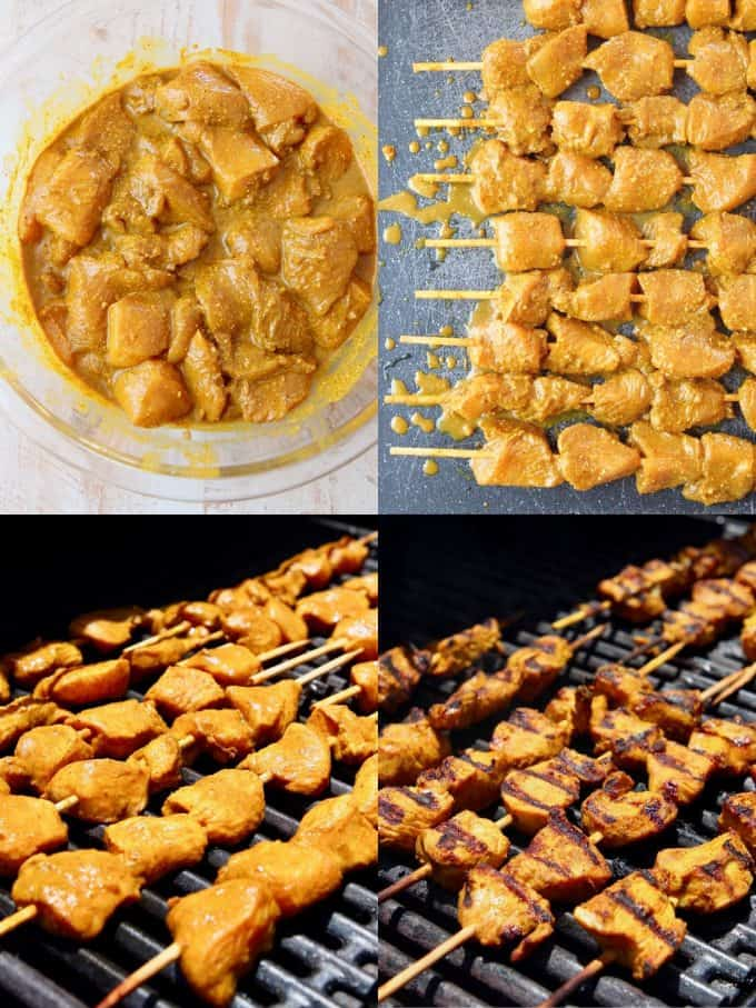 Collage showing how to make chicken satay