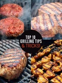 Collage of images showing meat on the grill