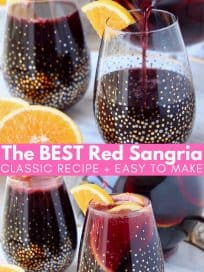 Sangria in glass with orange slices
