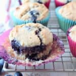 blueberry muffin in paper liner