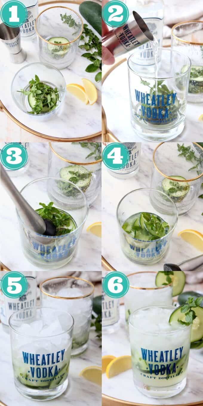 Step by step instructional images showing how to make a cucumber mint vodka cocktail