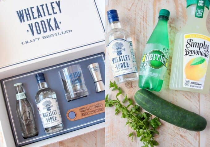 Ingredients for cucumber mint vodka cocktails