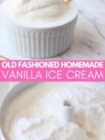 Vanilla ice cream in white ramekin with gold spoon