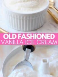 vanilla ice cream in white bowl and ice cream maker