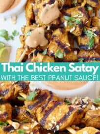 Chicken skewers drizzled with peanut sauce