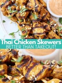 Grilled chicken skewers on plate