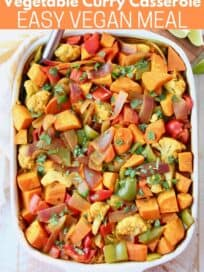 overhead image of vegetable curry casserole