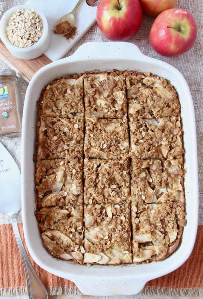 Overhead image of sliced oatmeal bars in baking dish