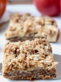 oatmeal bar on silver pie server