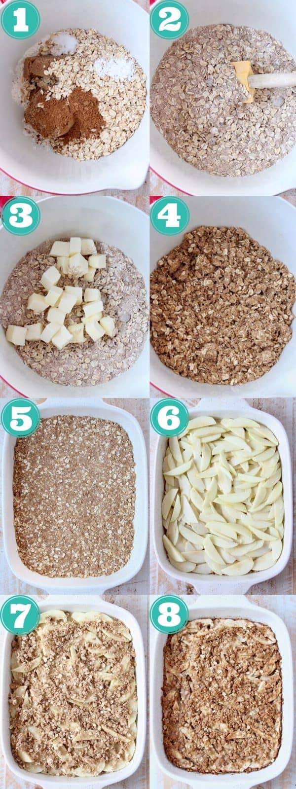 collage of images showing how to make apple oatmeal bars