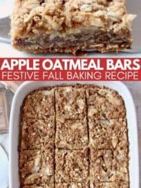 apple oatmeal bars on plate and in baking dish